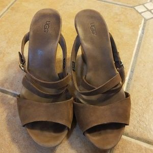 Ugg brown suede slide on wedge